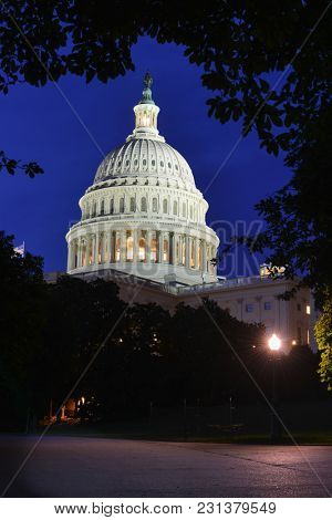 Washington DC at night - United States Capitol Building
