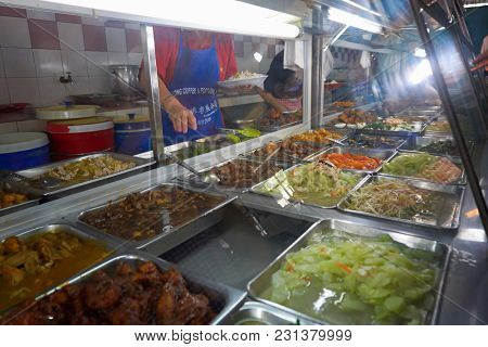 kuching,sarawak,malaysia 9th feb 2017,food court at kuching, sarawak.shop Selling variety dishes servred with white rice