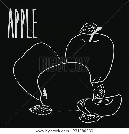 Isolate Colorful Ripe Apple Fruit As Chalk On Blackboard. Close Up Clipart In Chalkboard Style. Hand