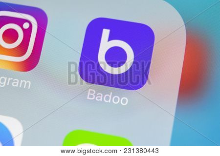 Sankt-petersburg, Russia, March 15, 2018: Badoo Application Icon On Apple Iphone X Screen Close-up.