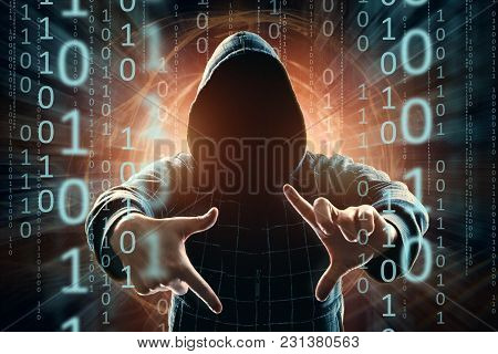 Hacker In The Hood, Hacker Attack, Silhouette Of The Man, Mixed Media. The Concept Of A Sudden Attac