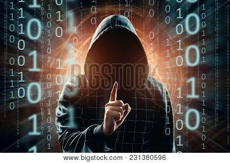 A Young Hacker In The Hood Shows A Thumbs-up, Attention, A Hacker Attack, A Silhouette Of A Man, Mix