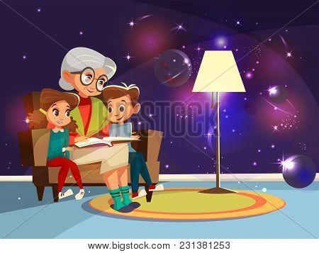 Vector Cartoon Grandmother Reading Astrophysics, Cosmos Space Science Book Boy Girl Sitting Armchair