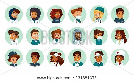 Vector Cartoon Multinational Medical Character Avatars Set. Circle Icon With Women Men Doctors Medic