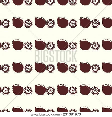 Fruits Vector Illustration On A Seamless Pattern Background. Set Of Elements