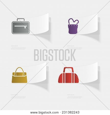 Handbags. Flat Sticker With Shadow On White Background. Vector Illustration