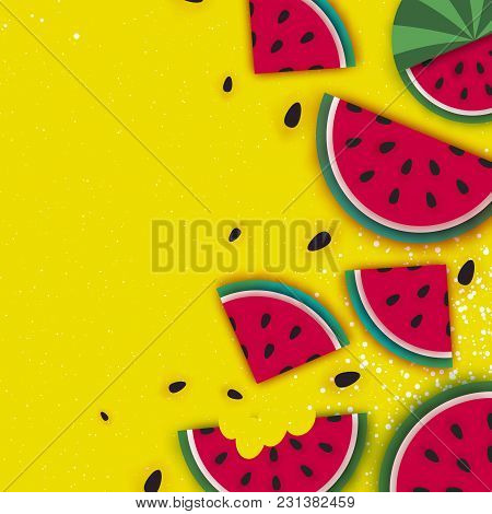 Watermelon Super Summer Sale Banner In Paper Cut Style. Origami Juicy Ripe Watermelon Slices. Health