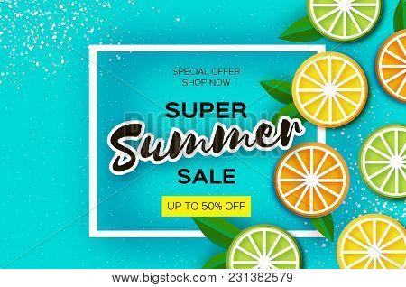 Lemon, Lime, Orange. Citrus Super Summer Sale Banner In Paper Cut Style. Origami Juicy Ripe Slices.