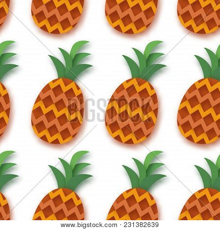 Pineappple Seamless Pattern. Anana In Paper Cut Style. Origami Healthy Food On White. Summertime. Ve