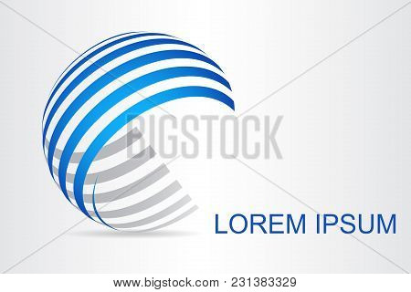 Logo Stylized Spherical Surface With Abstract Shapes. This Logo Is Suitable For Global Company, Worl
