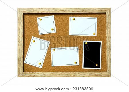 Wood Board Bulletin Cover Paper Isolated On White Background