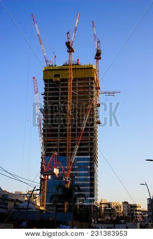 View Of A Construction Site Of A New Building In The City Of Tel Aviv In Israel February 22-2018  On