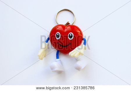 Toy Red Heart Keychain With Eyes And Smile