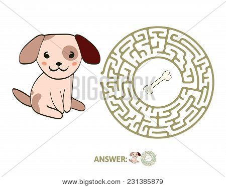 Children's Maze With Dog And Bone. Puzzle Game For Kids, Vector Labyrinth Illustration.