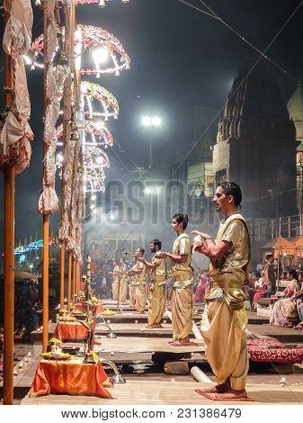 Varanasi, India - December, 9th, 2017. Ganga Aarti Ceremony At Dasashvamedh Ghat.