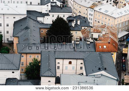 Salzburg, Austria - August 6, 2017: Cityscape Of Salzburg From Hohensalzburg Fortress A Cloudy Day