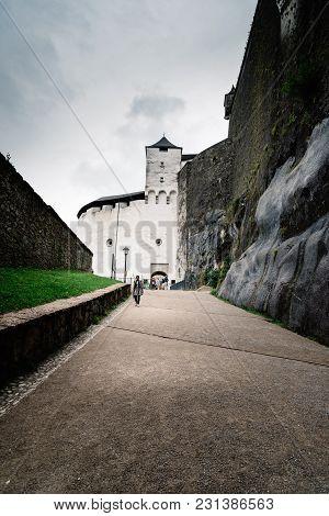 Salzburg, Austria - August 6, 2017: Hohensalzburg Castle In Salzburg A Rainy Day