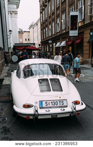 Salzburg, Austria - August 6, 2017: Old White Porsche S Car Parked On Street In Salzburg A Cloudy Da