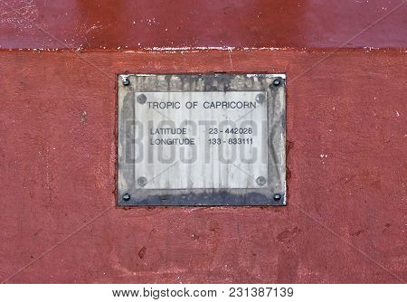 Iconic Rugged Metal Plate Of The Tropic Of Capricorn In Australia