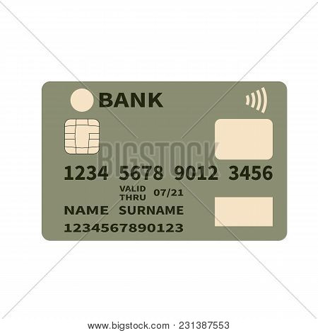 Realistic Detailed Credit Or Debit Card On A White Background. Contactless Payments Wifi. Flat Desig
