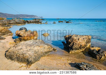 Elafonissi Beach With Pink Sand On Crete Island, Greece