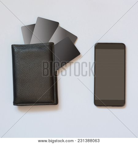 Business Concept. Storing Information About Credit Cards In A Mobile Application. Use Of Modern Tech