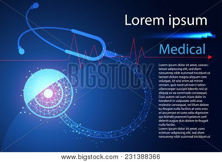 Abstract Health Science Stethoscope Digital Technology Modern Medical On Hi Tech Future Blue Background