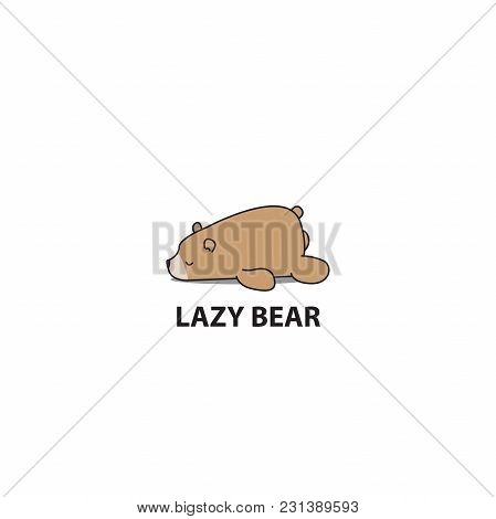 Lazy Bear Icon, Logo Design, Vector Illustration