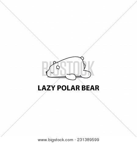 Lazy Polar Bear Icon, Logo Design, Vector Illustration