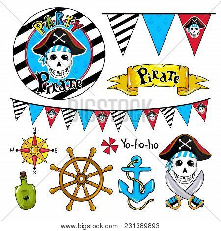Pirate Party Elements For Birthday, Steering Wheel, Sword, Flags, Bottle And Other Pirate Symbols.