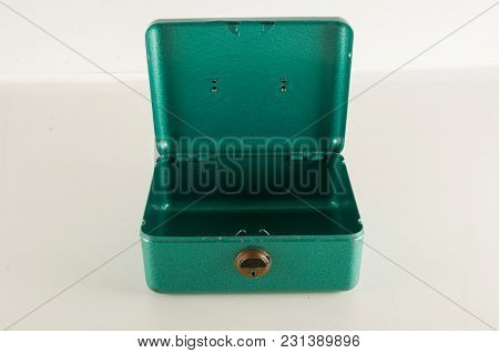Empty Metal Money Security Box Isolated On White Background