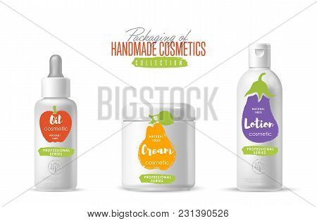 Handmade Cosmetic Brand Vector Packaging Template, Body Care Product. Oil, Lotion Or Soap, Shampoo,