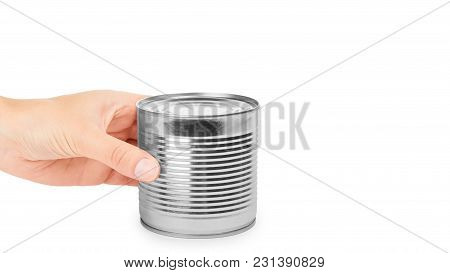 Aluminum Container Can In Hand. Isolated On White Background. Copy Space, Template.