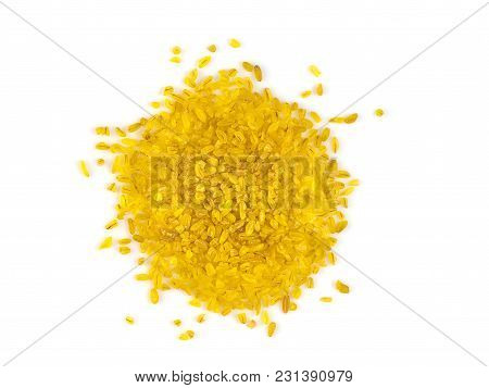 Raw Dry Grains Bulgur On White Background, Close-up, Top View, Isolated