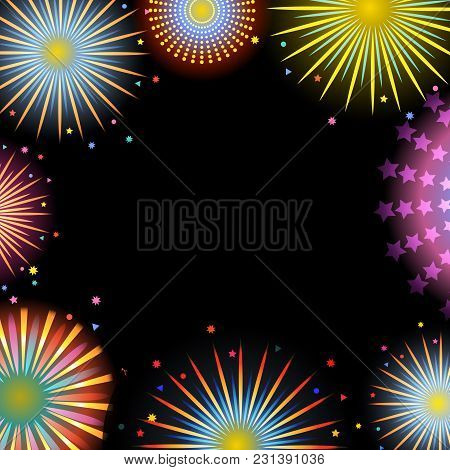 Vector Illustration, Decorative Background With Fireworks And Space For Text.