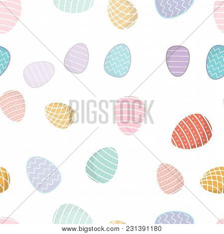 Easter Seamless Pattern. Colored Eggs, With Geometric Patterns, Can Be Used For Wrapping Paper As Ba