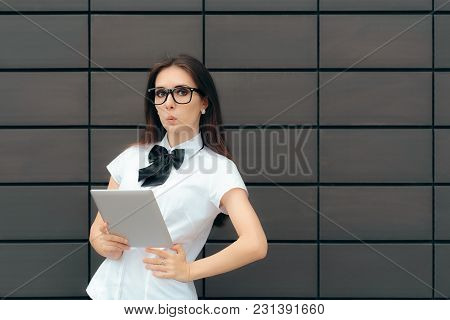 Smart Casual Woman Wearing Glasses Holding Pc Tablet