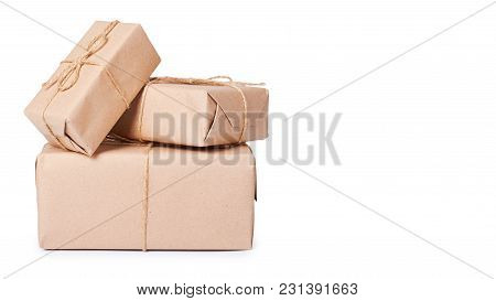 Eco Gift Box From Kraft Paper Isolated On White Background. Copy Space, Template.