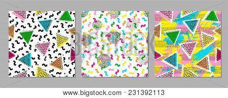 Colorful Geometric Seamless Patterns. Bright Backgrounds. 80's - 90's Years Design Style. Trendy.