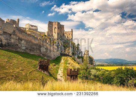 The Medieval Castle Beckov In Slovakia, Europe.