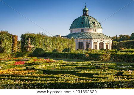 Flower Garden In Kromeriz Town, Czech Republic, Europe.