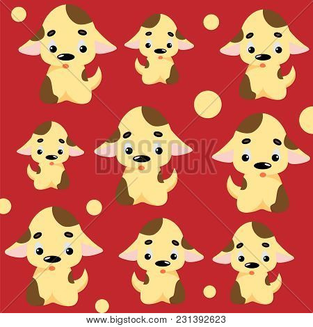Cute Dog Pattern With Puppies And Circles. Childish Seamless Vector Background For Fabric, Textile,