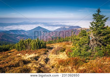 Mountainous Country With Valleys, The National Park Mala Fatra In Northern Slovakia, Europe.