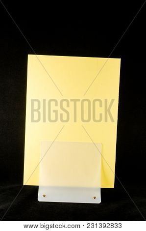 Blank Flyer Mockup Paper Holder Isolated Plain Flier Stand Clear Brochure Holding.