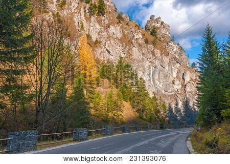 Road In A Mountain Landscape Through The Vratna Valley At The National Park Mala Fatra, Slovakia, Eu