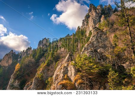 Mountain Landscape In Autumn Season, The Vratna Valley At The National Park Mala Fatra, Slovakia, Eu