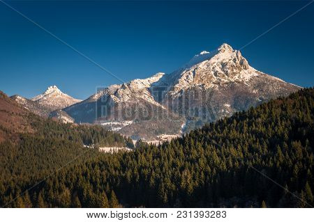 Mountain Landscape In Winter Season, The Great Rozsutec Hill In The Vratna Valley At The National Pa