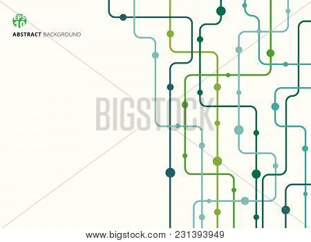 Abstract Technology Background Green Color Curved Lines, Dots With Copy Space. Flat Design. Vector I