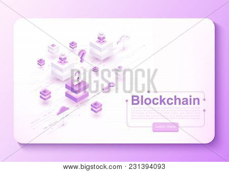 Vector Isometric Blockchain Concept Banner With Block System, Cubes And Circuit Board. Cryptocurrenc