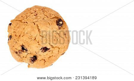 Pile Of Chocolate Chip Cookies Isolated On White Background. Copy Space, Template.